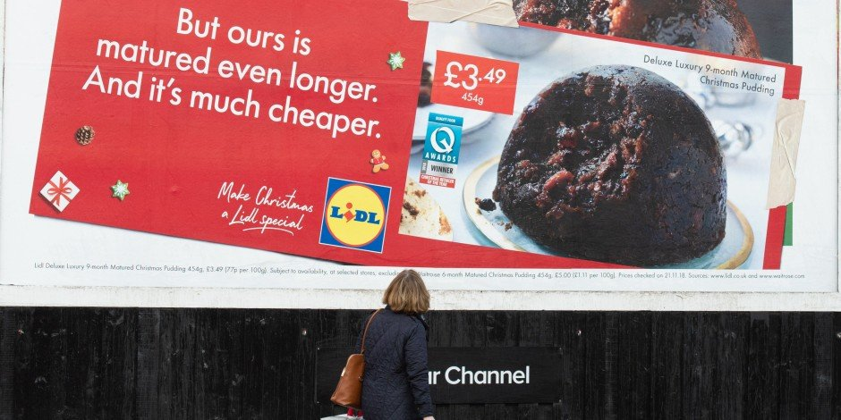 Billboard hijack! Will Lidl be getting a lump of coal in its stocking?